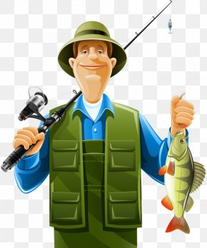 Fishing Master - Fisherman Fishing Rod Cartoon PNG