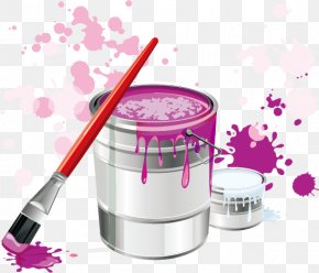 Paint Bucket Paint Brush - Paintbrush Icon PNG