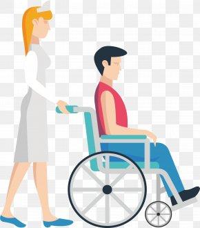 Push The Wheelchair Nurse - Nursing Wheelchair Clip Art PNG
