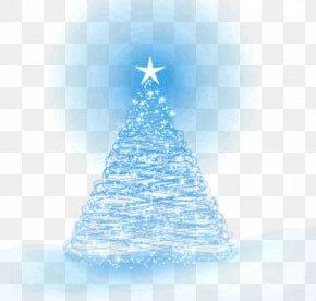 Blue Neon Christmas Tree - Christmas Tree Spruce Fir Blue Christmas Ornament PNG
