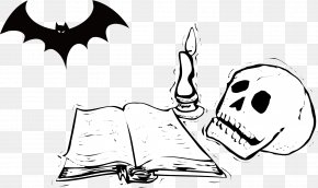 Vector Skull Bat Book - Black And White Cartoon Clip Art PNG
