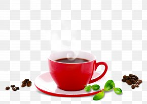 Red Coffee Cup Coffee Beans - Espresso Coffee Cup Cappuccino Cafe PNG