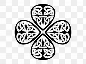 Black And White Woven Clover - Ireland Shamrock Four-leaf Clover Clip Art PNG