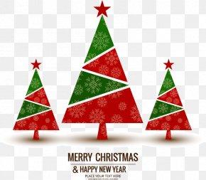Three Geometric Christmas Tree - Christmas Tree Greeting Card Wish New Years Day PNG