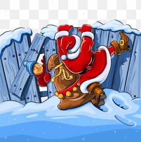 Cartoon Santa Claus Over The Wall - Santa Claus Christmas Royalty-free Clip Art PNG