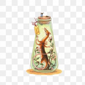 Bottle - Shrew Legendary Creature Art Watercolor Painting Illustration PNG