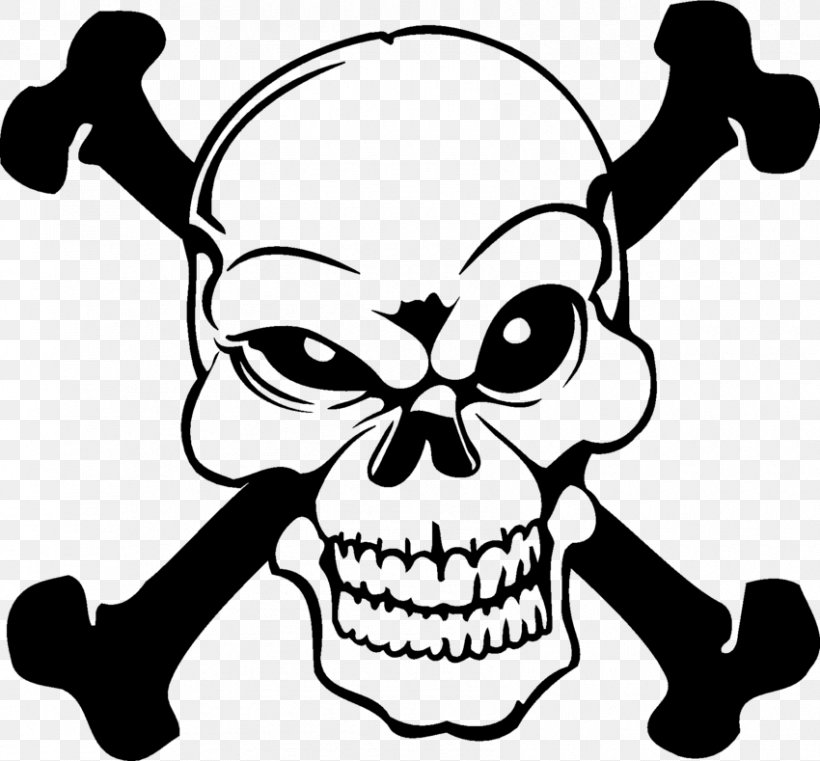 Skull And Crossbones Decal, PNG, 850x789px, Skull, Artwork, Black And White, Bone, Bumper Sticker Download Free