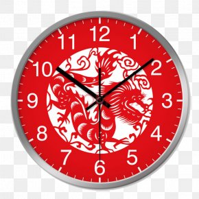Chinese Paper-cut Art Living Room Wall Clock - Chinese Dragon Chinese Zodiac Chinese Paper Cutting Wood PNG