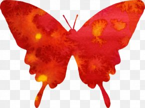 Watercolor Butterfly - Butterfly Watercolor Painting Red Clip Art PNG