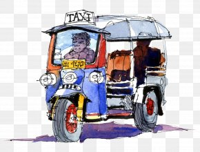 Drawing Taxi Pull Material Free - Rickshaw Watercolor Painting Drawing Fornies S.A. Sketch PNG