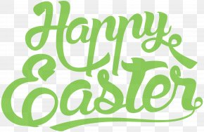 Happy Easter Green Text Clip Art - Easter Text Clip Art PNG