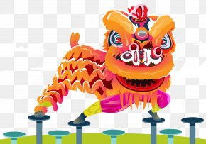 The Vector Lion Dance - Lion Dance Chinese New Year PNG