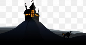 Vector Haunted House And Wildcats - Flight Euclidean Vector Witch Download PNG