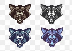 Four Colors Of Wolf Avatar - Raccoon Cartoon Illustration PNG