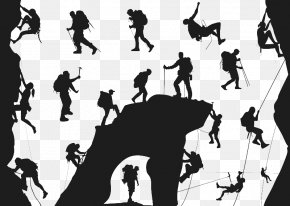 Outdoor Rock Climbing - Climbing Silhouette Mountaineering Extreme Sport PNG