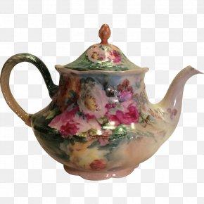Hand-painted Flower Pot - Teapot Limoges Victorian Era Tea Set PNG