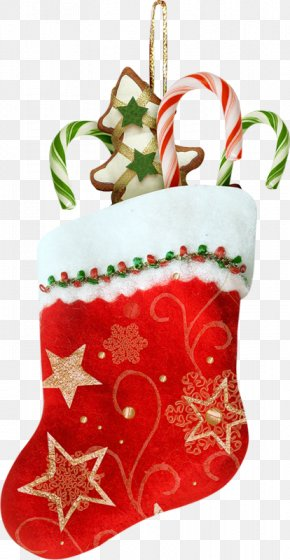 Real Red Christmas Stocking Gifts Sweets And Biscuits - Christmas Stocking Christmas Decoration Christmas Gift Clip Art PNG