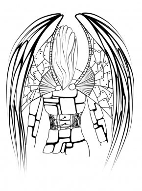 Angel Line Art - Black And White Line Art Monochrome Photography Drawing PNG