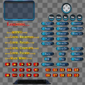 Game UI Buttons PSD - Button Game Logo Graphical User Interface PNG