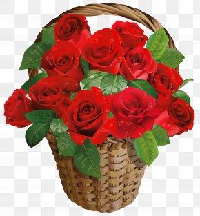 Valentine Gift Rose Basket Clipart Picture - Rose Flower Basket Valentines Day Clip Art PNG