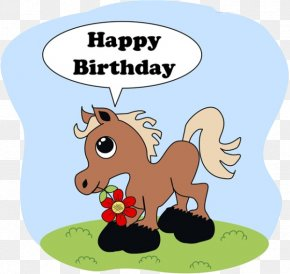 Cartoon Horse Flowers - Drawing Photography Birthday Illustration PNG