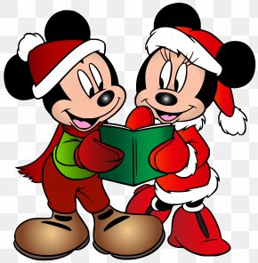 Minnie And Mickey Mouse Christmas Free Clip Art Image - Mickey Mouse Minnie Mouse Goofy Donald Duck Pluto PNG