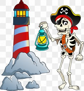 Pirate Skull And Lighthouse - Piracy Cartoon Skeleton Royalty-free PNG