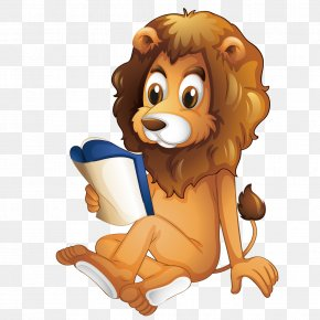 A Lion Reading A Vector - Lion Reading Book Illustration PNG