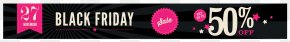 Black Friday 50% OFF Banner Clipart Image - Black Friday Online Shopping Clip Art PNG