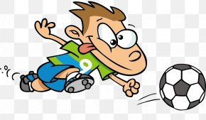 The Boy With His Tongue Out - Football Cartoon Illustration PNG