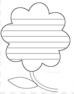 Blank Flower Template - Line Art Coloring Book Black And White Clip Art PNG