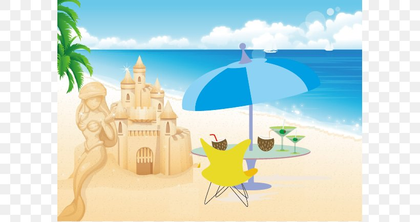 Beach Cartoon Sea Illustration Png 597x434px Beach Cartoon Painting Photography Poster Download Free