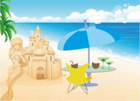 Summer Beach Background - Beach Cartoon Sea Illustration PNG