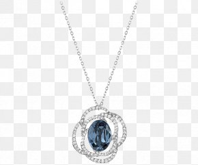 Swarovski Jewelry Women Necklace Blue - Locket Necklace Bling-bling Chain Jewellery PNG