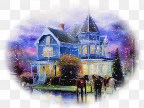 Winter Visual Arts - Watercolor Paint Painting House Home Paint PNG