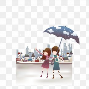 Rainy Stroll Umbrella Couple - Significant Other Umbrella Illustration PNG