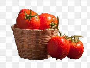 Bamboo Basket Of Tomatoes - Cherry Tomato Vegetarian Cuisine Vegetable Food Supermarket PNG