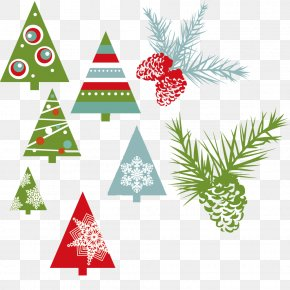 Variety Of Christmas Tree Pine Cone - New Year Christmas Drawing Clip Art PNG