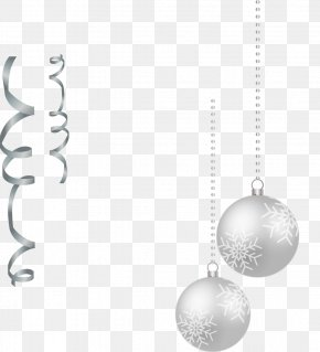 Vector Hand-painted Christmas Ornaments Silver Balls And Ribbons - Black And White Silver Black And White PNG