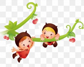 Children Playing On A Tree Branch - Vertebrate Cartoon Text Character Illustration PNG