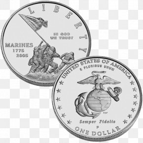 Coin - Marine Corps War Memorial Commemorative Coin Marine Corps 230th Anniversary Silver Dollar United States Marine Corps PNG