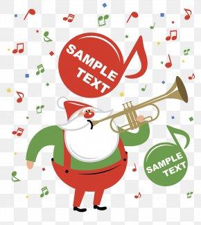Christmas Promotion Illustration - Santa Claus Trumpet Christmas Illustration PNG