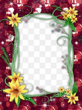 Red Flower Frame Transparent Image - Picture Frame Clip Art PNG