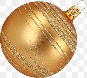 Golden Christmas Ball - Christmas Ornament Ball Clip Art PNG