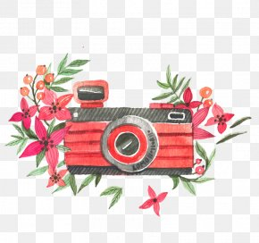 Watercolor Flowers And Cameras Vector - Floral Design Necklace Pendant Magnet Pattern PNG