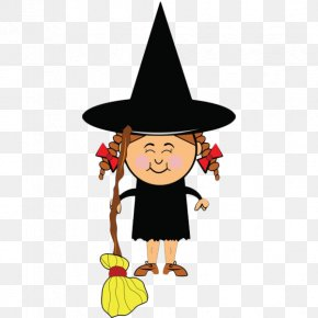 Cartoon Smiling Little Witch - Cartoon Witchcraft Witch Hat Clip Art PNG