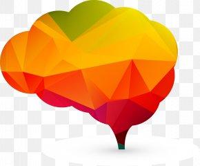 Modern Geometric Brain Vector PPT Element - Brain Euclidean Vector Neuron PNG