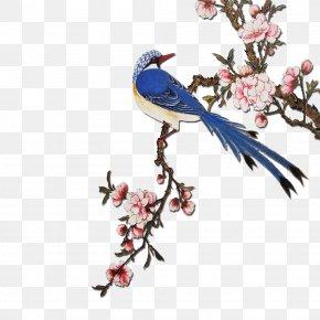 Very Happy - Flowering Peach Trees Bird Painting PNG