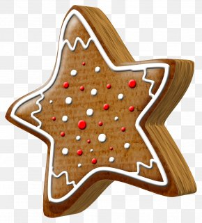 Christmas Cartoon Five-pointed Star Biscuits - Gingerbread House Pryanik Christmas Clip Art PNG