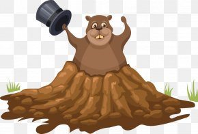 Vector Tree Cave Bear - Groundhog Day Illustration PNG
